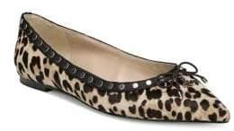 0f92c9393aa7 Sam Edelman Ralf Studded Leopard Print Calf Hair Ballet Flats