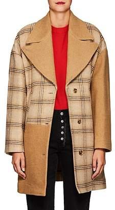 MM6 MAISON MARGIELA Women's Oversized Patchwork Wool Cocoon Coat - Beige, Tan