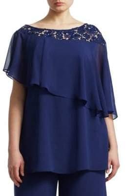 Marina Rinaldi Marina Rinaldi, Plus Size Asymmetrical Lace Trim Top