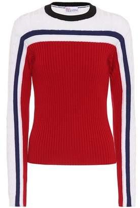 RED Valentino Striped wool sweater