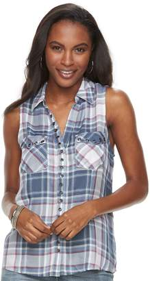Rock & Republic Women's Plaid Grommet Tank