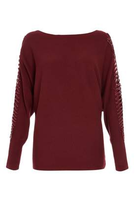Quiz Berry Embellished Batwing Lace Detail Jumper