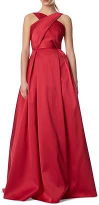ML Monique Lhuillier Cross Front Ball Gown