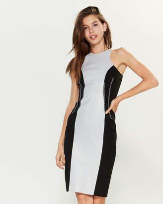 Versace Color Block Leather Sheath Dress