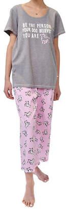 Hue Plus Two-Piece Dog Believes Capri Pyjama Set
