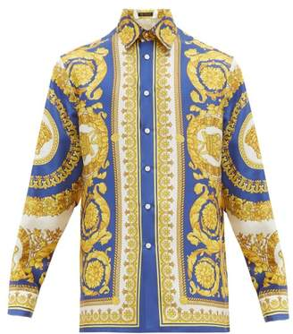 Versace Baroque Print Silk Shirt - Mens - Gold Multi
