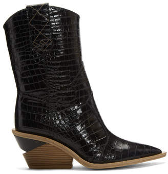 Fendi SSENSE Exclusive Black Croc Cowboy Boots