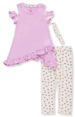 ONE STEP UP Cold Shoulder Asymmetrical Tunic And Legging, 2-Piece Outfit Set With Headband (Little Girls & Big Girls)
