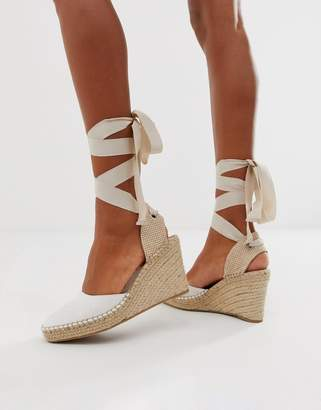 Asos Design DESIGN Jaylen espadrille wedges in white