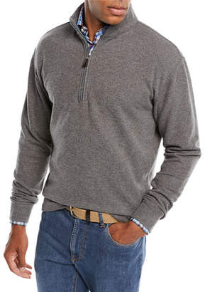 Peter Millar Melange Tri-Blend Fleece 1/4-Zip Sweater