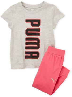Puma Girls 4-6x) Two-Piece Logo Tee & Joggers Set