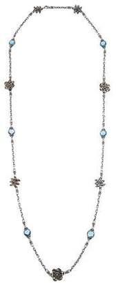 John Hardy Topaz Dot Ayu Floral Jasmine Station Necklace