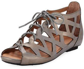 Gentle Souls Brielle Lace-Up Flat Cutout Comfort Sandal