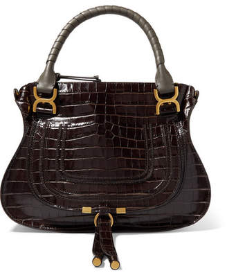 2728a7bed0bb Chloé Marcie Large Croc-effect Leather Shoulder Bag - Dark brown