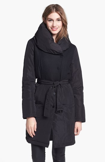 Kenneth Cole New York Flannel Bodice Down & Feather Coat