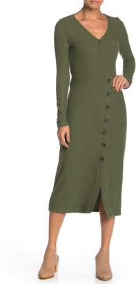 GOOD LUCK GEM Surplice Long Sleeve Button Midi Dress