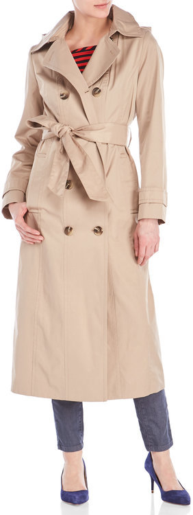 Anne Klein anne klein Double-Breasted Trench Coat