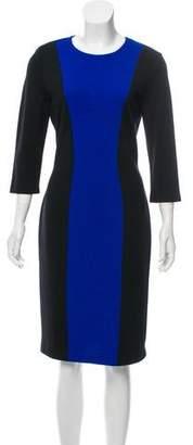 St. John Long Sleeve Midi Knit Dress