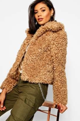 boohoo Premium Teddy Faux Fur Crop Coat
