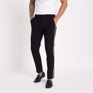 River Island Mens Black tape side skinny fit trousers