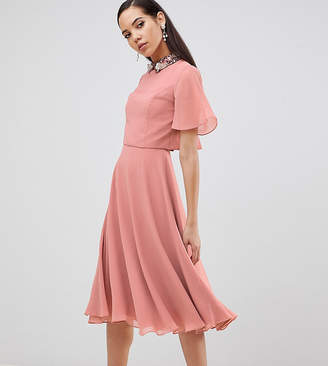 Asos Tall DESIGN Tall midi dress with crop top and 3D embellished collar