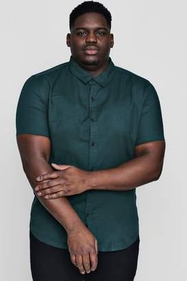 boohoo Big And Tall Short Sleeve Oxford Shirt