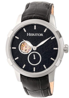 Heritor Automatic Callisto Silver & Black Leather Watches 45mm