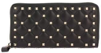 Valentino Garavani Wallet Rockstud Spike Zip Around Wallet In Quilted Leather With Metal Studs