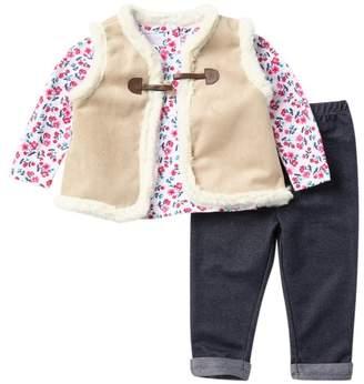Little Me Faux Fur Vest, Top, & Legging Set (Baby Girls)