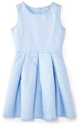 Yumi Girl - Blue Glittery Floral Skater Dress