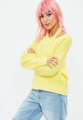 Missguided Yellow Halterneck Fluffy Crop Sweater