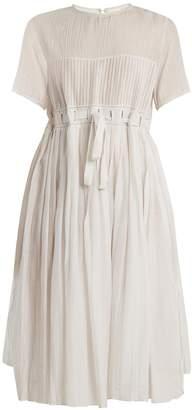 Thierry Colson Jours De Venise pleated cotton-blend midi dress