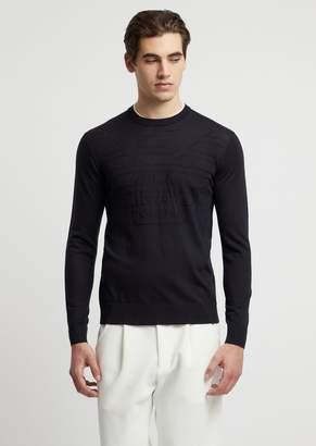 Emporio Armani Plain Knit Crew-Neck Sweater With Tone-On-Tone Logo