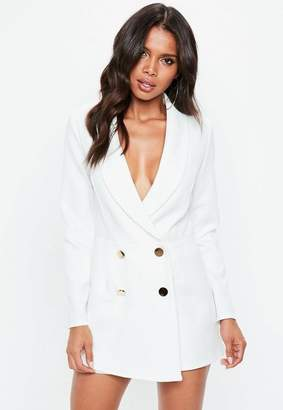 Missguided White Tailored Military Button Romper