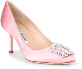 7956361b57c2 Manolo Blahnik Hangisi 70 light pink satin pump