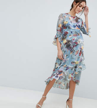 Little Mistress Maternity Fluted Hem Skater Dress In Floral Print