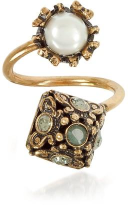 Alcozer & J Pyramid and Pearl Ring w/Gemstones