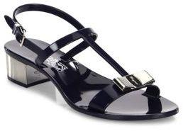 Salvatore Ferragamo Favilia Metal Block Heel Jelly T-Strap Slingback Sandals $295 thestylecure.com