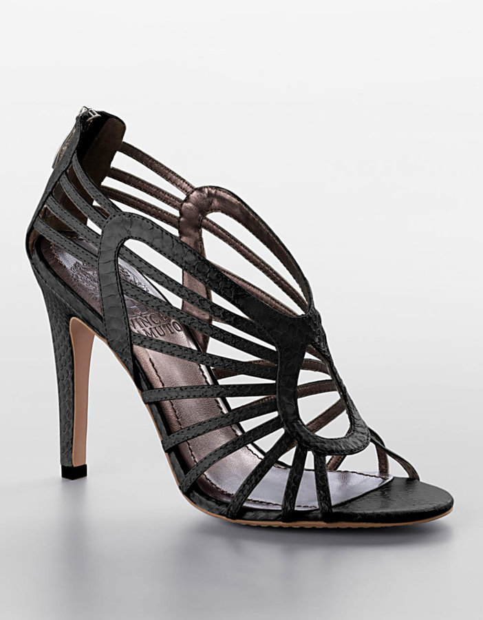 Vince Camuto Solana Strappy Snake-Embossed Stiletto Sandals
