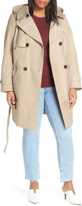 Halogen Double Breasted Hooded Trench Coat