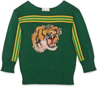Children's sweater with tiger appliqué $525 thestylecure.com