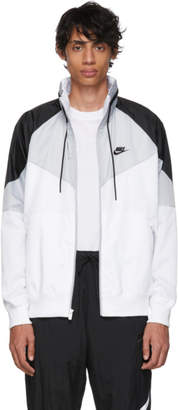 Nike Grey and White Sportswear Windrunner Jacket