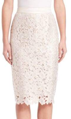 Escada Floral-Lace Pencil Skirt
