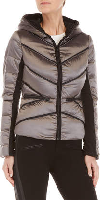 Blanc Noir Mesh Inset Hooded Puffer Coat