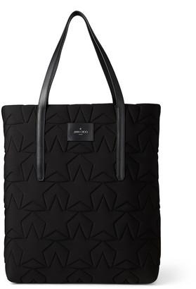 Jimmy Choo PIMLICO N/S Black Star Matelasse Neoprene Tote Bag