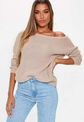Missguided Beige Off Shoulder Sweater