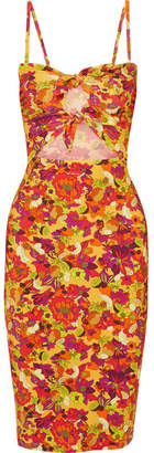 Printed Cutout Stretch-crepe Dress - Yellow Adriana Degreas New Fashion Style Of Free Shipping Newest 5ky2hUElz