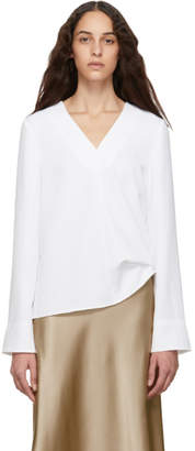 Tibi White Drape V-Neck Blouse
