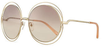 Chloé Carlina Round Wire Metal Sunglasses
