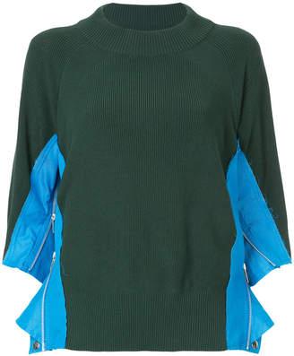 Sacai ribbed zip panel sweater